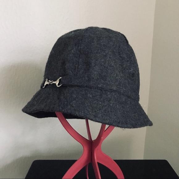 50e490a63357c AUGUST Gray wool silver horse bit CLOCHE hat NWOT